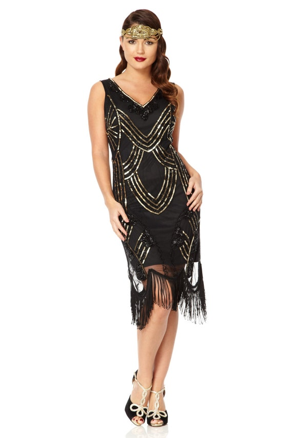 Juliet Black Gold Flapper Dress 1920s inspired Great Gatsby
