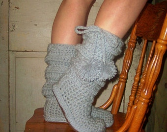 Crochet Boots Pattern---- Slouch Boots---style number 2----------for indoor and outdoor wear---Instant Download