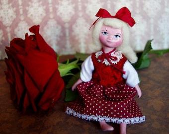 Miniature dolls - Art handmade OOAK interior tiny doll Emma, small dolls, tiny baby doll red small gift - 5 inch