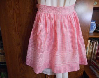 Vintage Handmade pink Gingham Apron with Chicken Scratch Embroidery - New