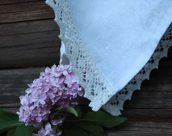 White Linen Kitchen Towel with White Linen Lace