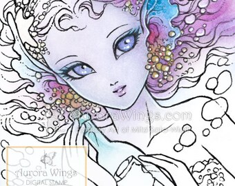 Digital Stamp - Mermaid's Wish - Message in a Bottle - digistamp - Big Eye Mermaid - Line Art for Cards & Crafts by Mitzi Sato-Wiuff