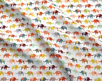 Elephants Fabric - Elephant March (Half Size) By Endemic - Elephants Hearts Orange Burgundy Gray Cotton Fabric By The Yard With Spoonflower