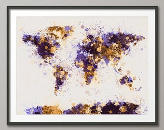 Paint Splashes Map of the World Map, Art Print (194)