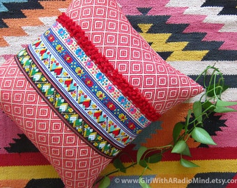 Red Boho Pillow Decorative Cushion Ethnic - Geometric Tribal Boho Throw Pillow Cover