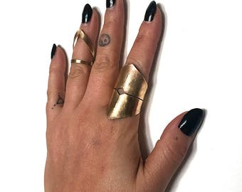 High Priestess Finger Cuff in Brass (adjustable size)
