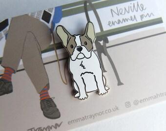 French Bulldog enamel pin badge - Neville - dog pin - frenchie lapel badge - dog gift - bulldogs - brooch accessory