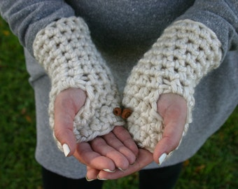 color CREMA Ready To Ship - fingerless gloves - texting gloves - hand warmers - crochet hand warmers - crochet gloves - THE MALAMUTES