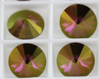 Crystal Lilac Shadow - Swarovski Crystal Rhinestone, Rivoli 12mm, (1122)  foil back. pkg. of 4 (A-19E)