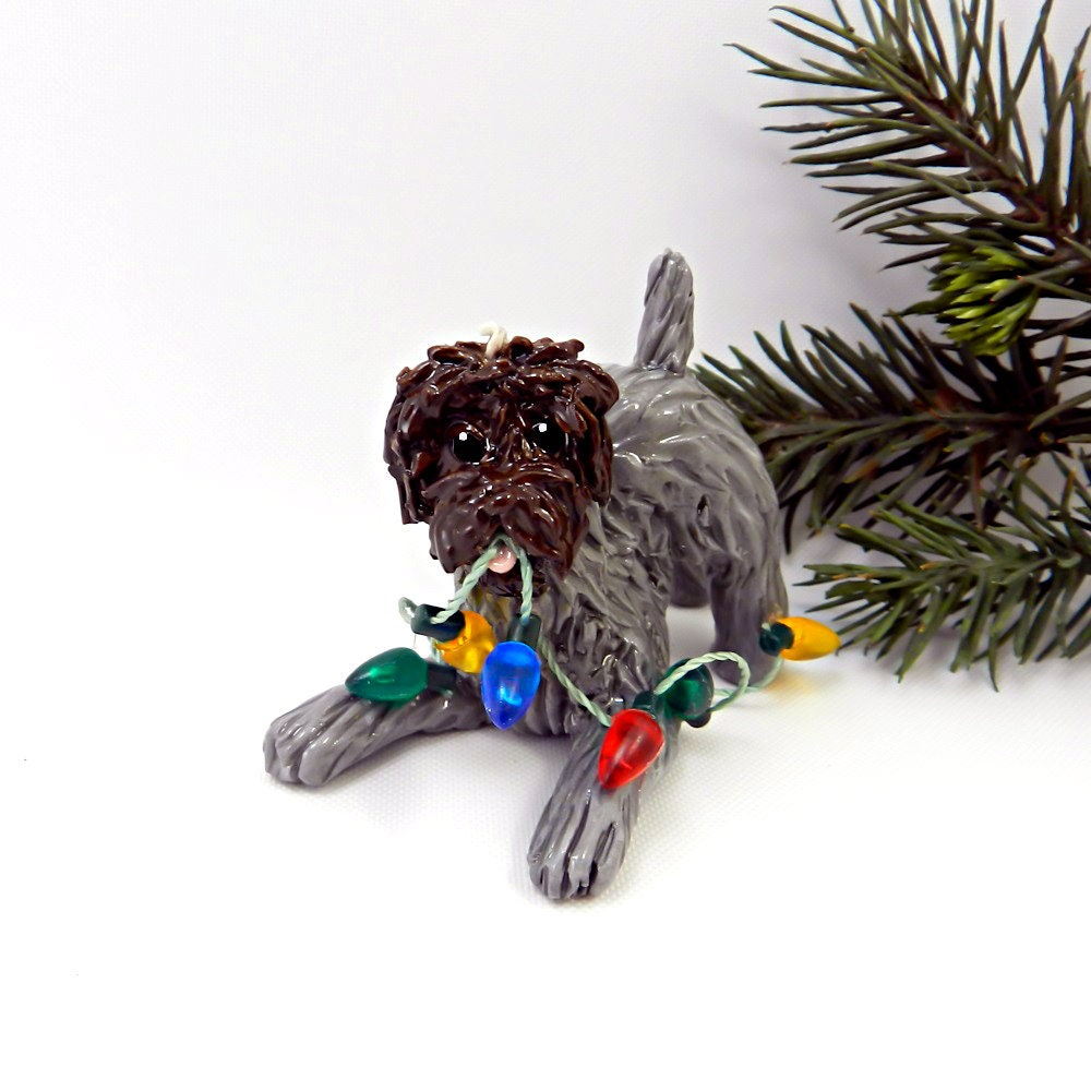 Wirehaired Pointing Griffon Porcelain Christmas Ornament Figurine ...
