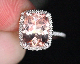 Morganite Engagement Ring 14k White Gold Ring with Pink Morganite Cushion 10x8mm and Diamond Halo