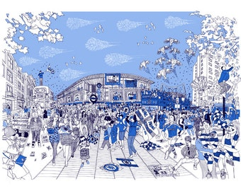 Chelsea FC illustration print artwork gift. A4, A3 or A2 signed QueenKwak 'City Celebration' original football, fan art, picture poster.