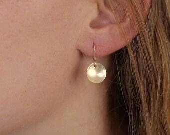 Gold Disc Earrings / Gold Hammered Disk Drop Earrings / 14k Gold Filled, 14k Rose Gold, Sterling Silver 925 Earrings / Everyday Earrings