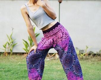 Flower Print Aladdin Pants, Aztec Ethnic Print , Boho Strenchy Pants, Elastic Waist Clothing Beach Women Baggy Casual Pinnk -Purple B4700619