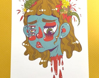 cryptic girl - giclée print - 8.5 x 11 inches (letter size) archival quality