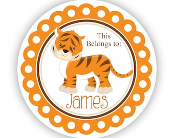 Personalized Name Stickers - Orange Brown, Safari Animal, Zoo Jungle Tiger Name Tag Stickers - This Belongs To - Back to School Name Labels
