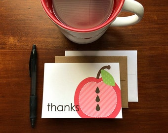 Apple Thank You Cards - Teacher Thank You Notes, Teacher Appreciation Cards, Apple Thank You Card Set, Red Pink Orange Green Apple Thanks