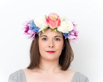 Unicorn; Flower Crown, Floral Crown, Festival Headpiece, Boho Wedding, Wedding Flower Crown