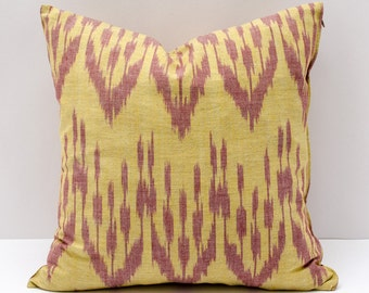 15x15 yellow ikat pillow case