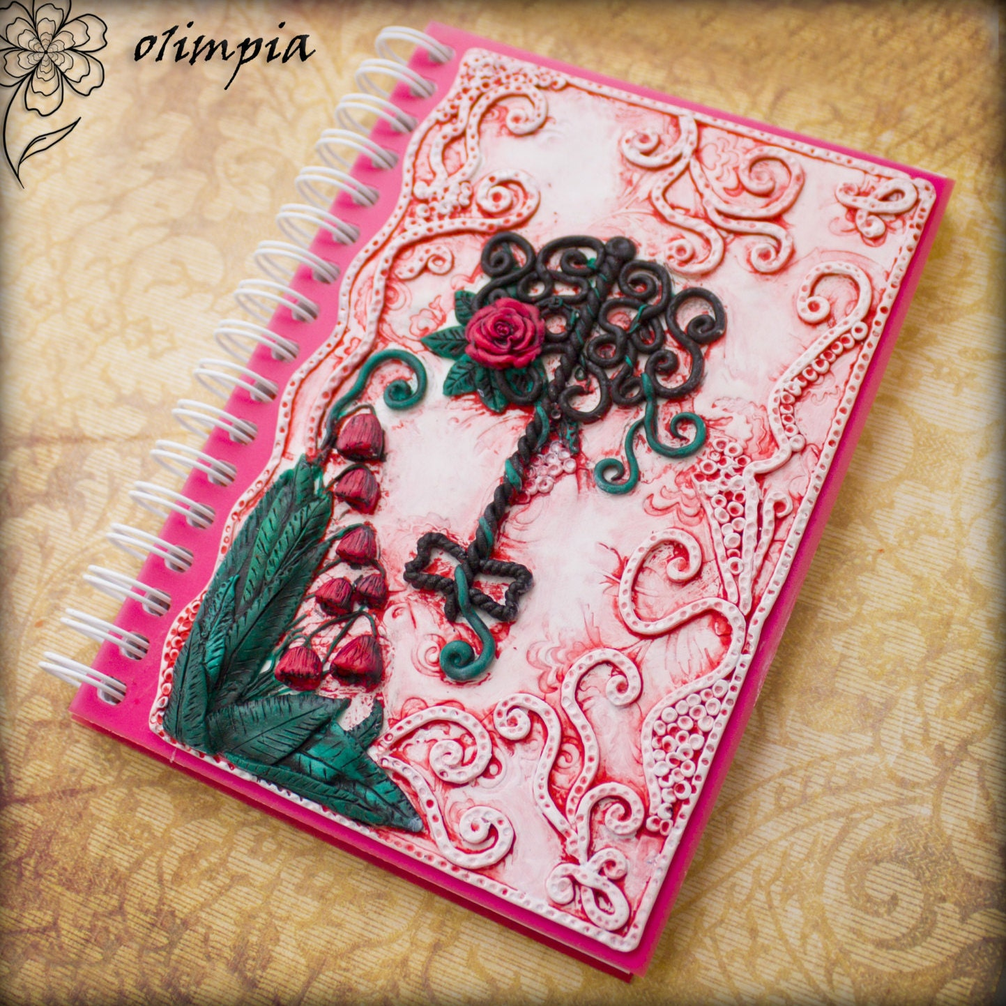 Pink gothic notebook key small artist sketch book spiral a6 zoom arubaitofo Image collections