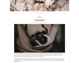 Premade Blogger Template - Responsive One Column - Minimalist template - Slider Photography Fashion - Slide Show - Theme Blogspot