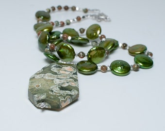 Go Green with Coin Pearls and Rhyolite Sterling Pendant Necklace