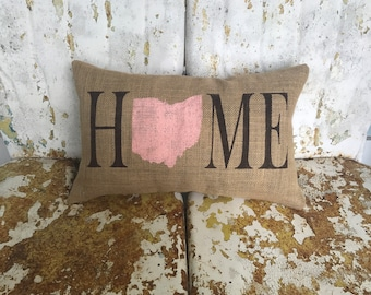 Custom HOME STATE Painted Burlap Throw Accent Pillow Custom Colors Available Housewarming Hostess Summer Accent Decor
