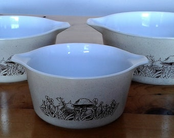 Vintage Pyrex Forest Fancies Nesting Bowls Or Casserole Dishes #473B  #474B  #475B