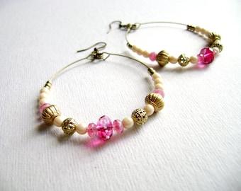 Bohemian style earrings hoop golden pink and ivory soft romantic big earrings boho chic earrings  -Shine on -