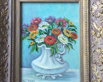 VINTAGE OIL PAINTING, still life of flowers in pitcher on board, signed, framed 10 by 12 inches, and ready to hang, decorative wall art.