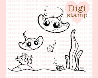 Stingray Kids Digital Stamp for Card Making, Paper Crafts, Scrapbooking, Hand Embroidery, Invitations, Stickers, Cookie Decorating