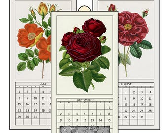 "HALF PRICE 2018 Digital Calendar Printable Downloads 4.8"" X 10""  Antique Roses Illustrations  12 Different Images Vintage Art  2018 CAL 7"