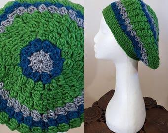 THE VINTAGE TAM Handmade 1940s Landgirl Boho Alpaca Wool Blend Crochet Knit Beret Hat Green Grey Blue