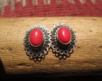 Coral and Sterling Post Earrings
