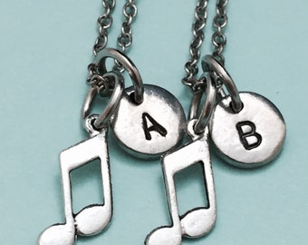Best friend necklace, music note necklace, music necklace, bff necklace, sister, friendship jewelry, personalized, initial, monogram
