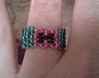Harley Quinn Glass Beaded Rings