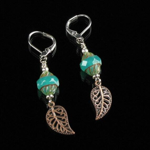 Copper Leaf Boho Earrings, Silver Tribal Dangles, Jewelry Shop, Unique Jewelry Gift for Women, Boho Jewelry, Leverback Earrings Gift, Women