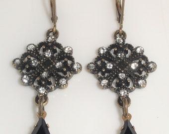 Black Enamel Clear Rhinestone Tear Drop Dangle Lever Back Pierced Earrings
