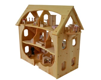 Wooden Dollhouse-Montessori-Wood Dollhouse-Montessori Toys-Kennebunkport-Cottage-Dollhouse-Wood Dollhouse