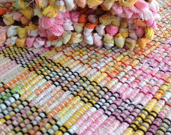 """Bright spring rag rug 87""""x25"""" hand woven pink white yellows orange gold greens repurposed sheets rustic cabin decor throw rug fringes #180"""