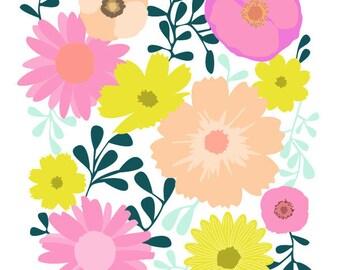 Colorful Art Print - Wallflower - wildflower Art Print, Flower art print ,Floral Summer,Floral illustration Print,flower Print, Giclee Print