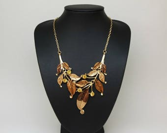 Brown and gold Bib statement leaf necklace,Crystal necklace,Brown necklace,Gold chain,Short necklace,short necklace brown,modern necklace