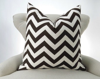 Brown Zigzag Pillow Cover -MANY SIZES- Chevron Village - decorative throw euro sham cushion modern contemporary premier prints 28 22 18