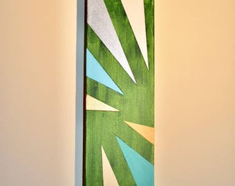 "Green Grass, 12""x4"" Acrylic on canvas hand-made painting, wall hangings, interior design, home decor"