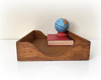 Vintage Wood File Tray Box Office Desk Organization Legal Size