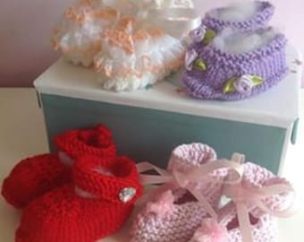 Set of Four Baby Booties for Girls - 0-3 Months
