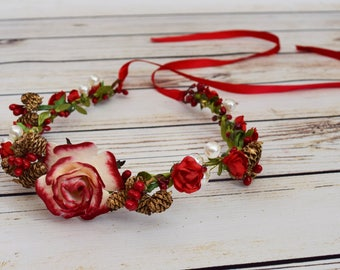 Handcrafted Holiday Adult Flower Crown - Pinecone Christmas Flower Crown - Ombre Red Rose Flower Halo - Pearl Flower Crown - Bridal Headband