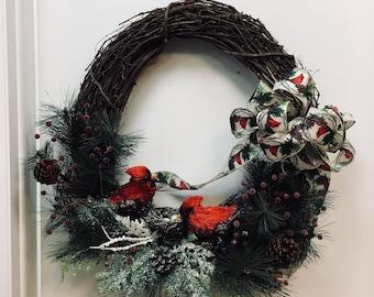 Christmas, Christmas Wreath, Christmas Door Wreath, Grapevine Christmas Wreath, Grapevine Red Robbin Wreath, Christmas Door Decoration