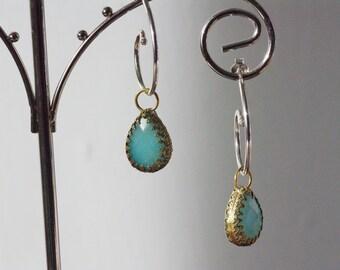 Sterling Silver Hoops, Interchangeable Silver Hoop Earrings Sea Green Quartzite & Blue Quartzite Earrings High Shine Earrings