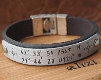 Men Bracelet, Leather Bracelet, Man Leather Bracelet, Personalized Leather Bracelet, Coordinate Bracelet, Gift for Birthday
